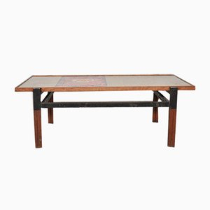 Mid-Century Italian Afrormosia, Iron & Colored Resin Coffee Table, 1950s