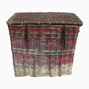 Englischer Vintage Wäschekorb aus Korbgeflecht, 1930er