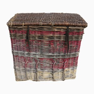 Vintage English Wicker Laundry Basket, 1930s