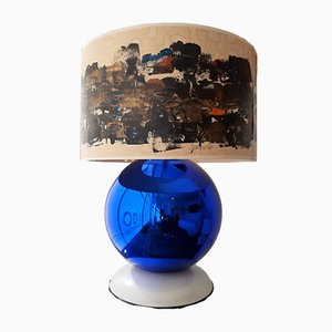 Vintage Italian Glass and Enamel Table Lamp, 1970s
