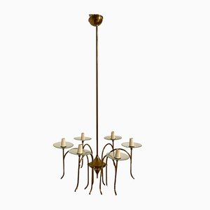 Art Deco Italian Bronze and Glass Chandelier by Pietro Chiesa for Fontana Arte, 1930s