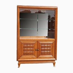 Vintage Art Deco Style Oak Display Cabinet, 1940s