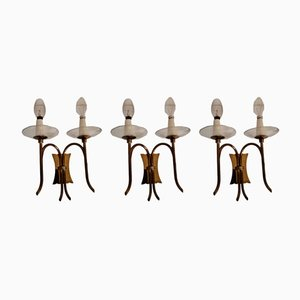 Art Deco Italian Bronze and Glass Sconces by Pietro Chiesa for Fonderia d'Arte, 1930s, Set of 3