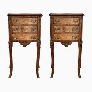 Louis XV French Bronze and Walnut Nightstands, 1920s, Set of 2