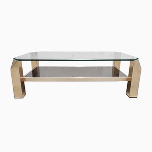 Table Basse en Verre et Placage d'Or de Belgo Chrom / Dewulf Selection, 1970s
