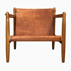 Scandinavian Modern Leather and Oak Oresund Bra-Bohag Lounge Chair by Børge Mogensen for Karl Andersson & Söner, 1959