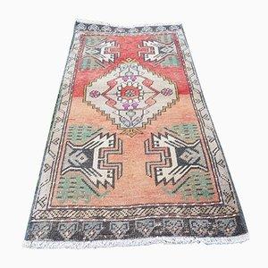 Kleiner türkischer Vintage Yastik Teppich aus Baumwolle, 1970er