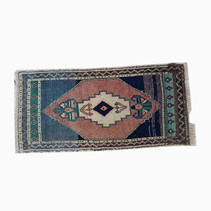 Small Vintage Turkish Cotton and Wool Yastik Carpet, 1970s