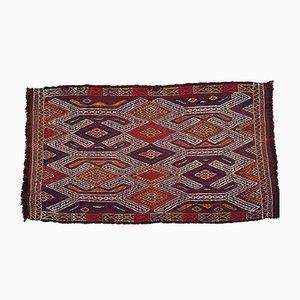 Alfombra Kilim turca vintage de lana y algodón bordado, años 70