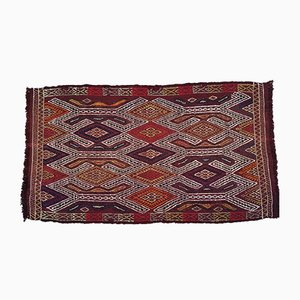 Vintage Turkish Embroidered Cotton and Wool Kilim Carpet, 1970s