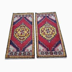 Alfombras Oushak turcas vintage pequeñas de algodón y lana, años 80. Juego de 2
