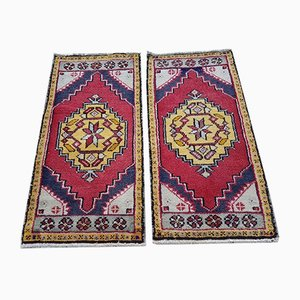 Small Vintage Turkish Cotton and Wool Oushak Carpets, 1980s, Set of 2