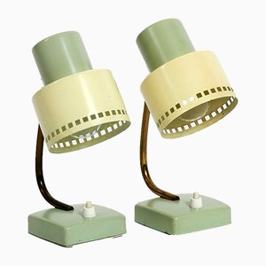 Mid-Century German Mint Green & Yellow Metal Table Lamps, 1950s, Set of 2