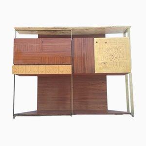 Mueble antiguo de vidrio y latón de Osvaldo Borsani para Dassi, años 50
