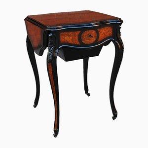 Tavolino da caffè Napoleone III in legno intarsiato, Francia, XIX secolo
