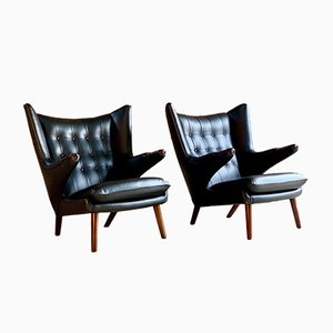 Danish Leather and Teak Papa Bear Model AP19 Lounge Chairs by Hans J. Wegner for ap stolen, 1963, Set of 2
