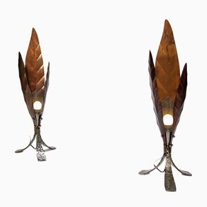 Italian Modern Copper and Wrought Iron Table Lamps by Franco Zavarise for Zava Luce Italy, 1997, Set of 2