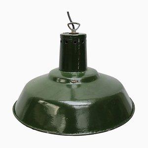Mid-Century Industrial Green Enamel Pendant Lamp, 1950s