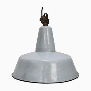 Vintage Industrial Grey Enamel Pendant Lamp, 1950s