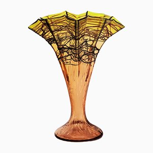 Antike Jugendstil Glasvase in Fächer-Optik von Kralik