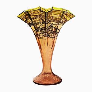 Vase Antique Art Nouveau en Verre en Forme de Ventilateur de Kralik