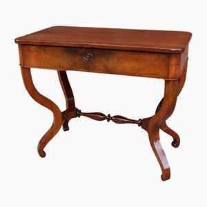 19th-Century Charles X French Walnut Console Table