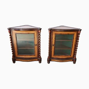 Antique Mahogany Corner Cabinets, 1820s, Set of 2