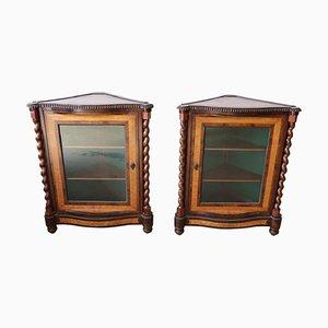 Muebles esquineros antiguos de caoba, década de 1820. Juego de 2