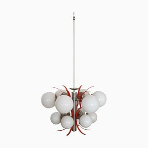 Italian Chrome and Glass Chandelier, 1960s