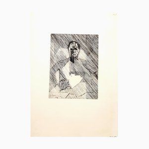 Cubist Man Etching by Jacques Villon, 1949