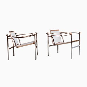 LC1 Lounge Chairs by Le Corbusier, Charlotte Perrriand for Cassina, 1970s, Set of 2