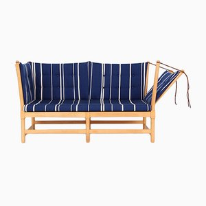 Scandinavian Modern Danish Wood and Wool Sofa by Børge Mogensen for Fritz Hansen, 1983