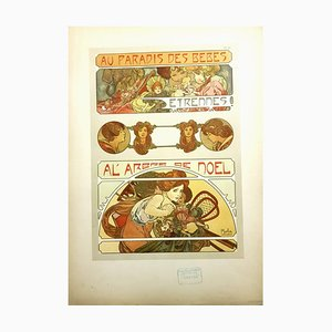 Litografía Christmas Baby Party de Alfons Mucha, 1902