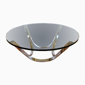 Chromed Steel and Glass Coffee Table by Roger Sprunger for Dunbar, 1960s