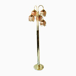Italian Pink Glass and Brass Lilz of the Valley Floor Lamp, 1970s