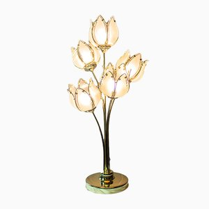 Vintage Italian Colored Glass Flower Table Lamp, 1970s