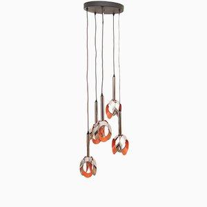 Dutch Orange and Chrome Cascading 5-Light Ceiling Lamp from Raak, 1960s