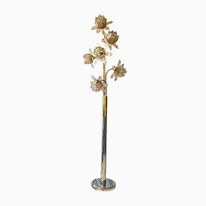 Italienische Lotus Stehlampe aus Messing & Buntglas, 1970er