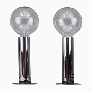 Italian Chrome and Glass Table Lamps, 1970s, Set of 2