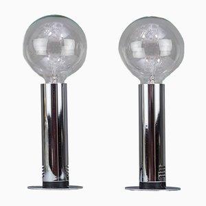 Lampes de Bureau en Chrome et Verre, Italie, 1970s, Set de 2