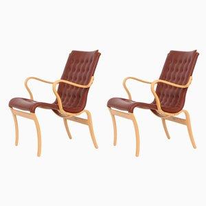 Sillones Mina escandinavos modernos de cuero de Bruno Mathsson, años 80. Juego de 2
