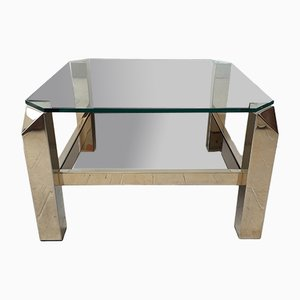 Glass and Mirrored Glass Coffee Table from Belgo Chrom / Dewulf Selection, 1970s
