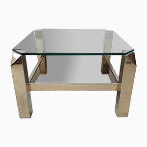 Table Basse en Verre et en Verre à Effet Miroir de Belgo Chrom / Dewulf Selection, 1970s