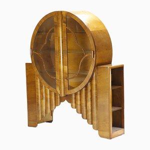 Vintage Art Deco English Circular Rocket Display Cabinet