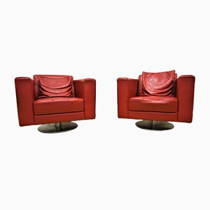 Red Leather Armchairs, 1980s, Set of 2