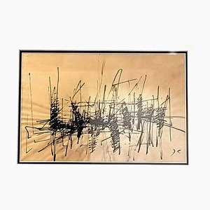 Tuschmalerei von Jacques Germain, 1970er