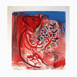 Letter to my painter Raoul Dufy Watercolor Lithograph by Marc Chagall