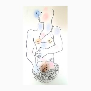 White Book Hand-Colored Lithograph by Jean Cocteau, 1930