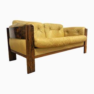 Sofá vintage de cuero y palisandro