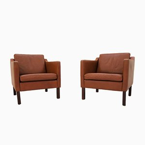 Vintage Scandinavian Tan Leather Armchairs, Set of 2